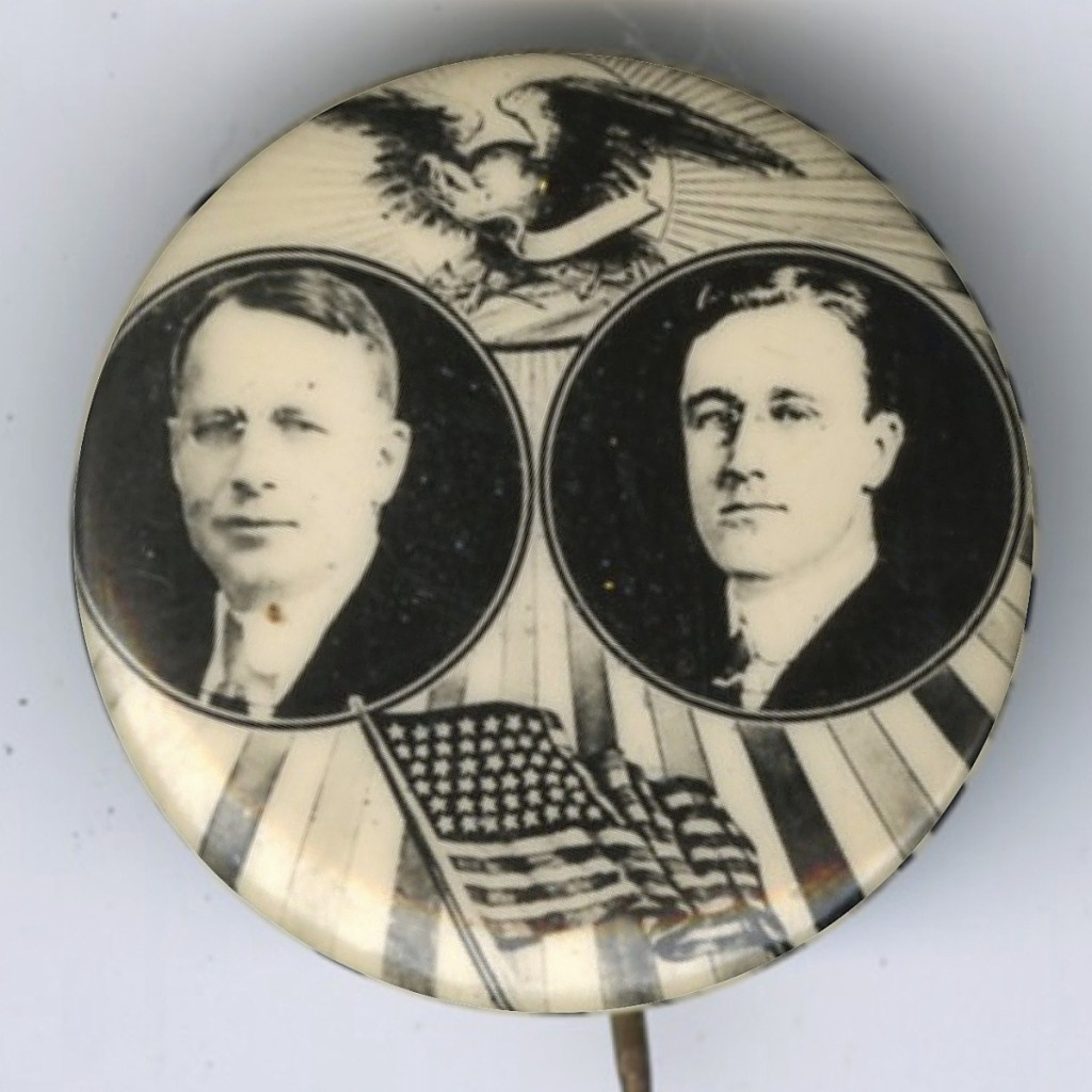 """Keep your eye out for this 1¼-inch """"Holy Grail,"""" a 1920 Democratic party jugate depicting nominees James Cox for president and   Franklin Delano Roosevelt for vice president."""