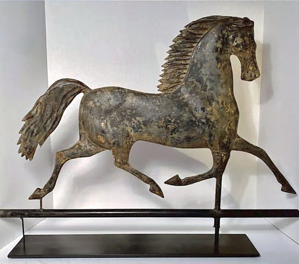 Provocative, this Nineteenth Century molded copper weathervane of Blackhawk, the iconic Morgan trotting horse was a highlight in the virtual booth of Dennis Raleigh Antiques & Folk Art/Pumpkin Patch Antiques of Searsport, Maine.