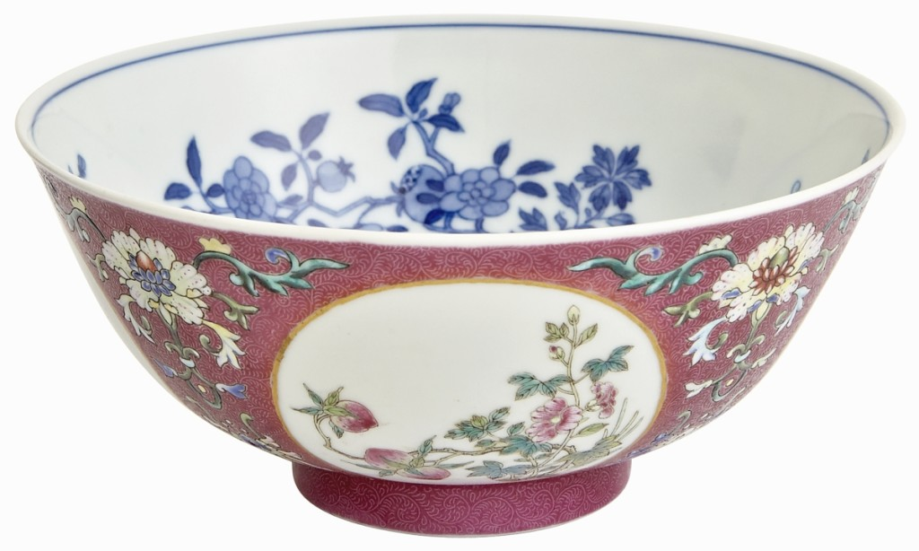 Leading the sale was this Chinese Imperial sgraffiato enameled porcelain medallion bowl that made $47,500 ($10/15,000).