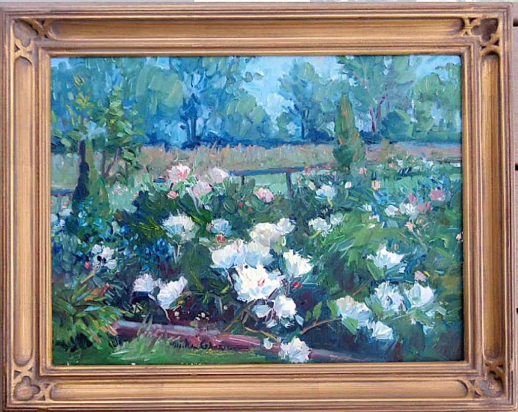 "Donna Kmetz, American Paintings, Douglas, Mass., offered Michael Graves's (b 1952) ""Peonies,"" an oil on canvas measuring 12 by 16 inches. Graves, a Massachusetts award-winning plein air artist, is a member of the Guild of Boston Artists, Rockport Art Association, the North Shore Art Association and Academic Artists."