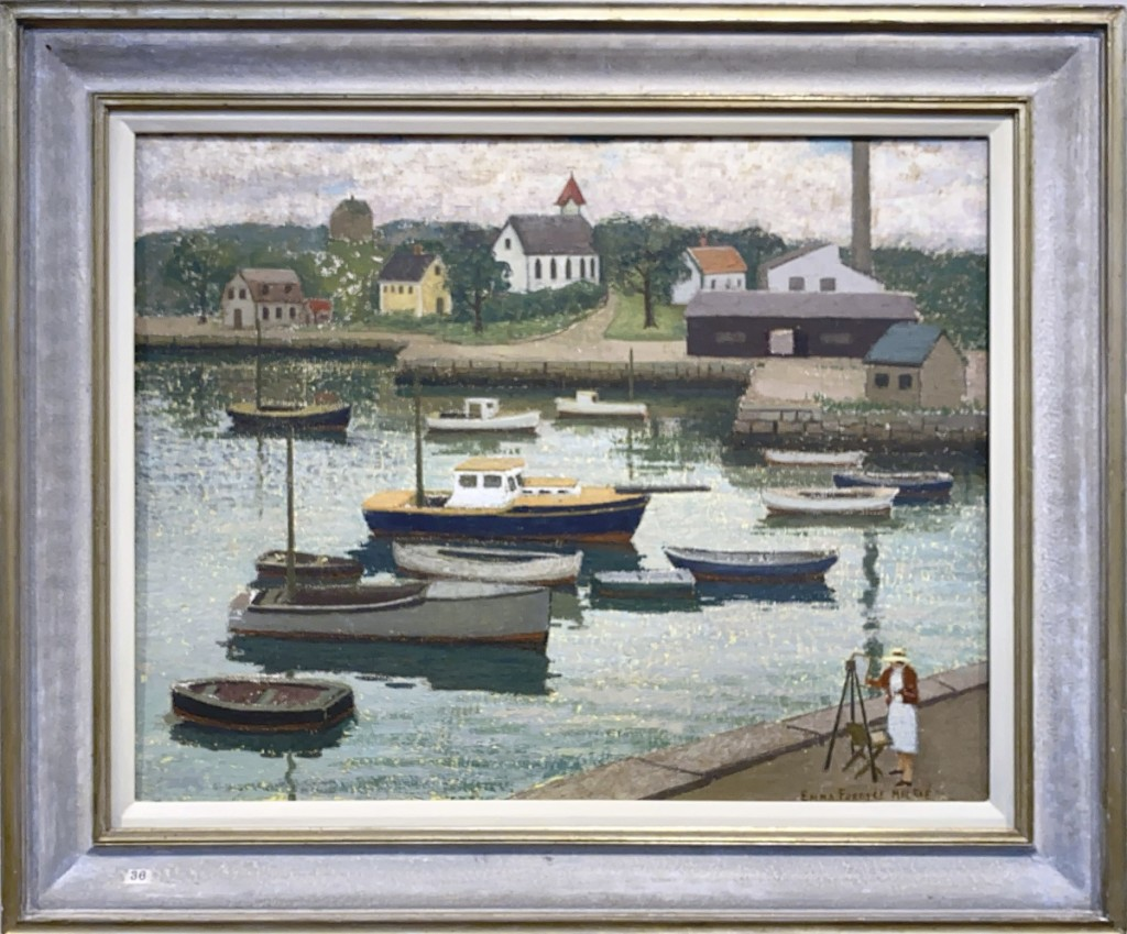 """Leading the sale was """"Painting at Pigeon Cove"""" by Emma Fordyce MacRae, which brought $11,070 from a private collector bidding online. The oil on canvas, mounted on board, measured 22 by 28 inches ($6/11,000)."""
