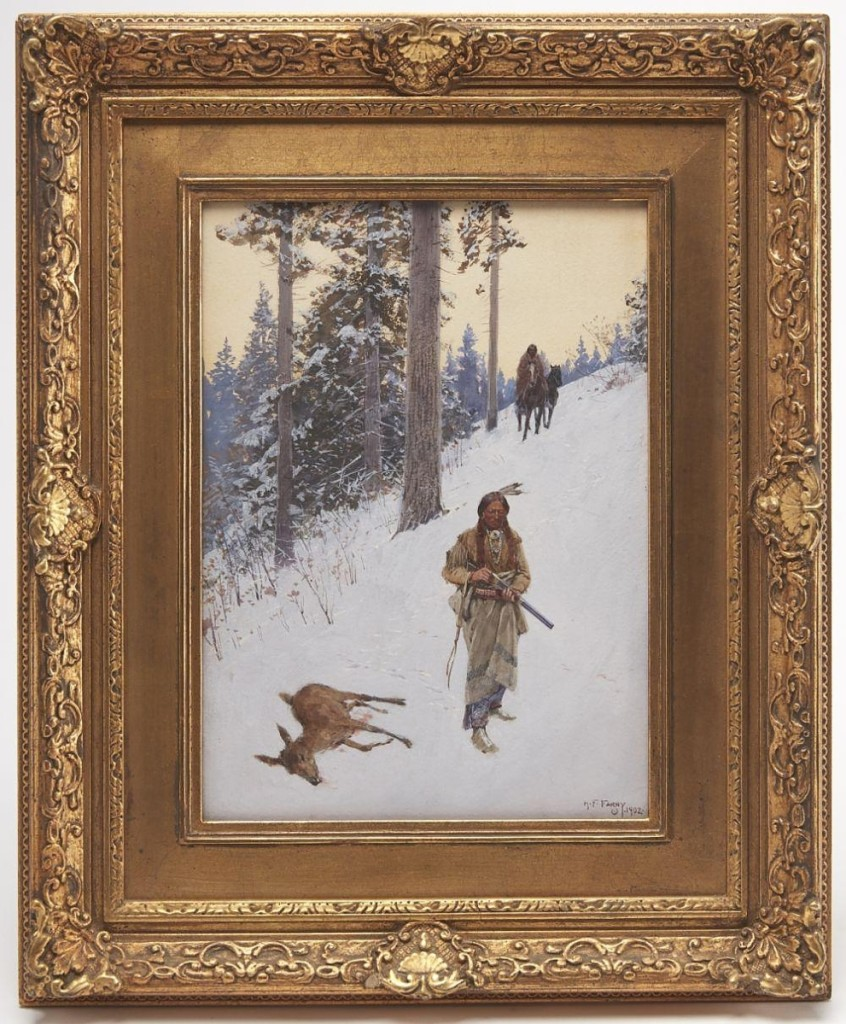 "The top lot in the sale was ""Native American Hunter"" by Henry Farny, which brought $71,875 from the owner of a major league baseball team who was bidding on the phone and making their first purchase with New Haven Auctions. The 1902 gouache and watercolor on paper had been consigned by a descendant of the artist ($40/60,000)."
