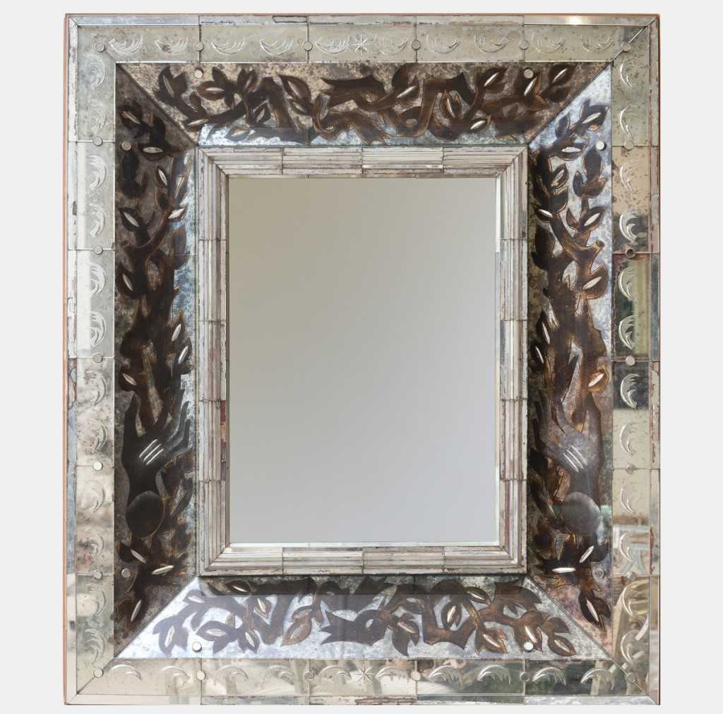 A European bidder won this French Art Deco verre églomisé mirror, which brought a robust $88,560, against an $800-$1,200 estimate. The 4-foot-3-inch-by-44-inch mirror had been by repute acquired from Galerie Darenberg, Louvres des Antiquaires in Paris in the 1980s.