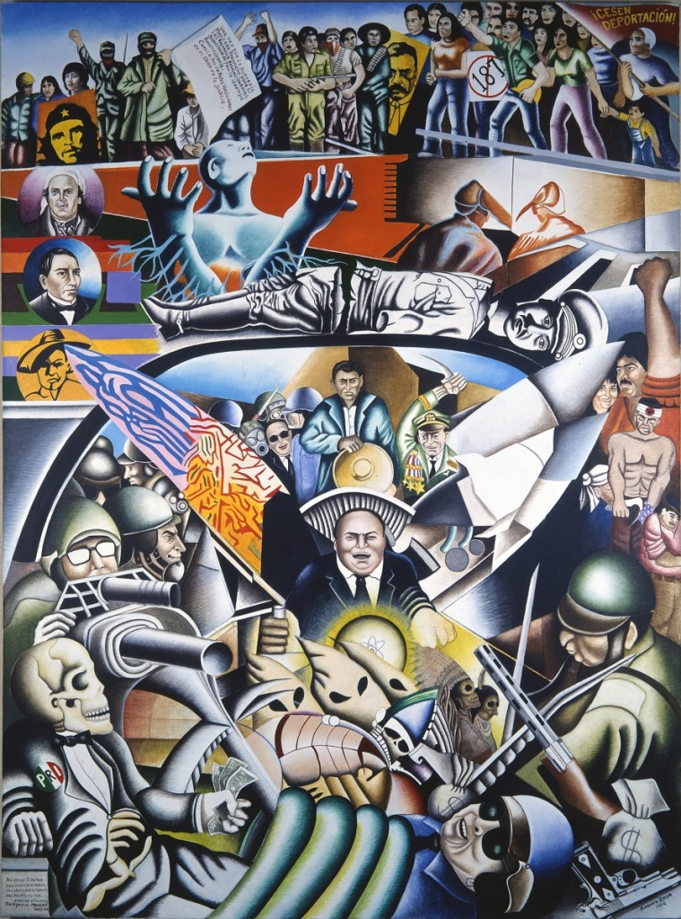 """The Legacy of Manifest Destiny / El legado del Destino Manifiesto"" by Marcos Raya (b 1948, Irapuato, Guanajuato), 1995. Acrylic on canvas/acrílico sobre tela, 96 by 72 inches. National Museum of Mexican Art Permanent Collection, 2001.28. Gift of Nora Ribadeniera Carranza in honor of her family. Photo credit Kathleen Culbert-Aguilar."