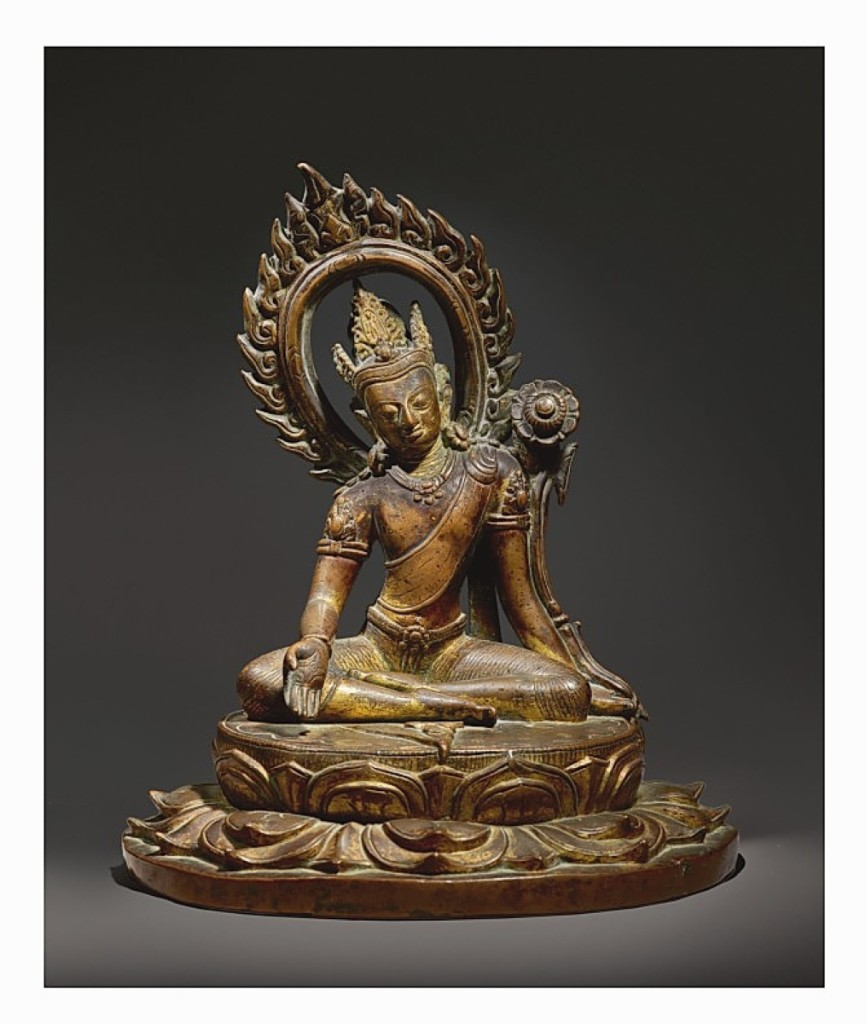 A gilt-copper figure of Avalokiteshvara, Nepal, Ninth/Tenth Century, achieved $830,700 (Indian, Himalayan and Southeast Asian art).