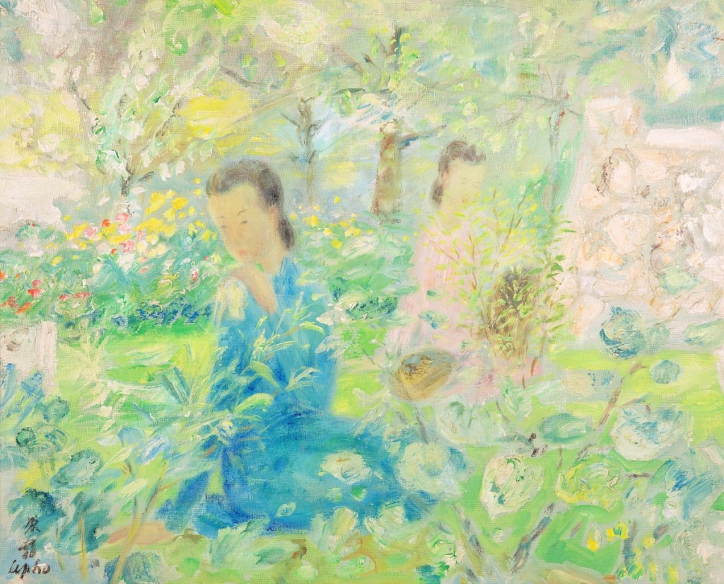 "Among several paintings by Vietnamese-French painter Le Pho (1907-2001) in the sale, the top selling lot was this garden scene with two women. ""Figures dans le jardin,"" an oil canvas, 23-  by 28¾ inches, signed lower left, realized $68,750."