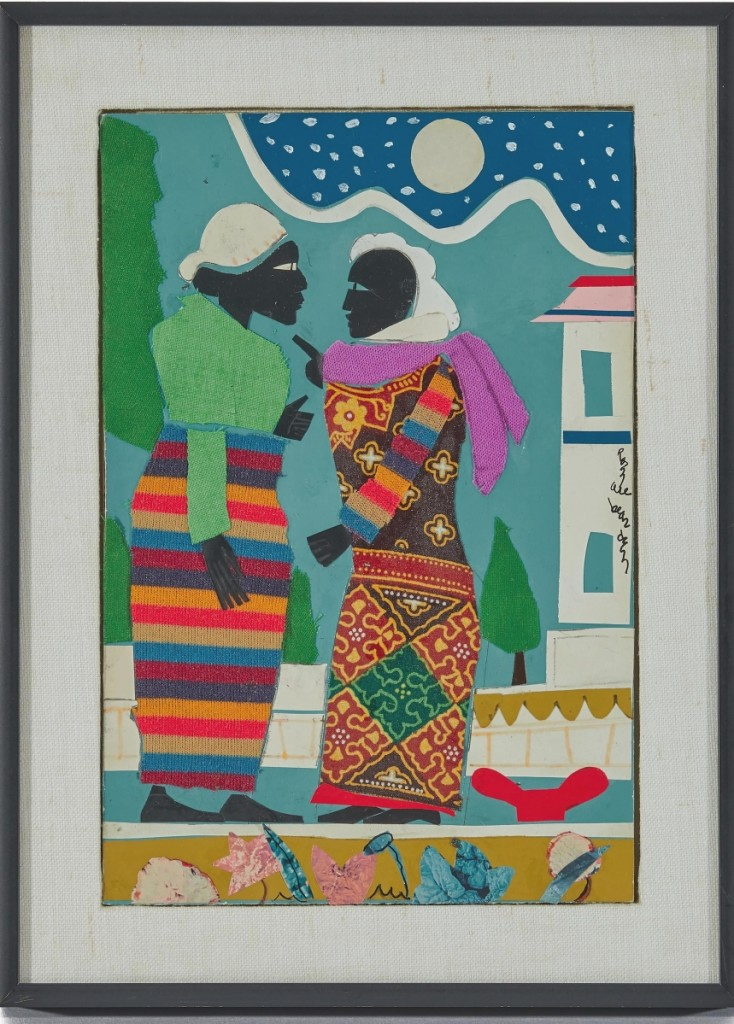 """By Romare Bearden, """"In The Garden,"""" an acrylic, cloth and paper collage was the second highest priced item in the sale, bringing $93,750. It had been acquired from the artist by the consignor in 1978."""