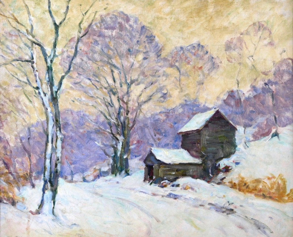 Thoughts of approaching winter may have propelled Connecticut artist William Chadwick's (1879-1962) oil on canvas landscape snow scene with weathered building to a final price of $3,360.