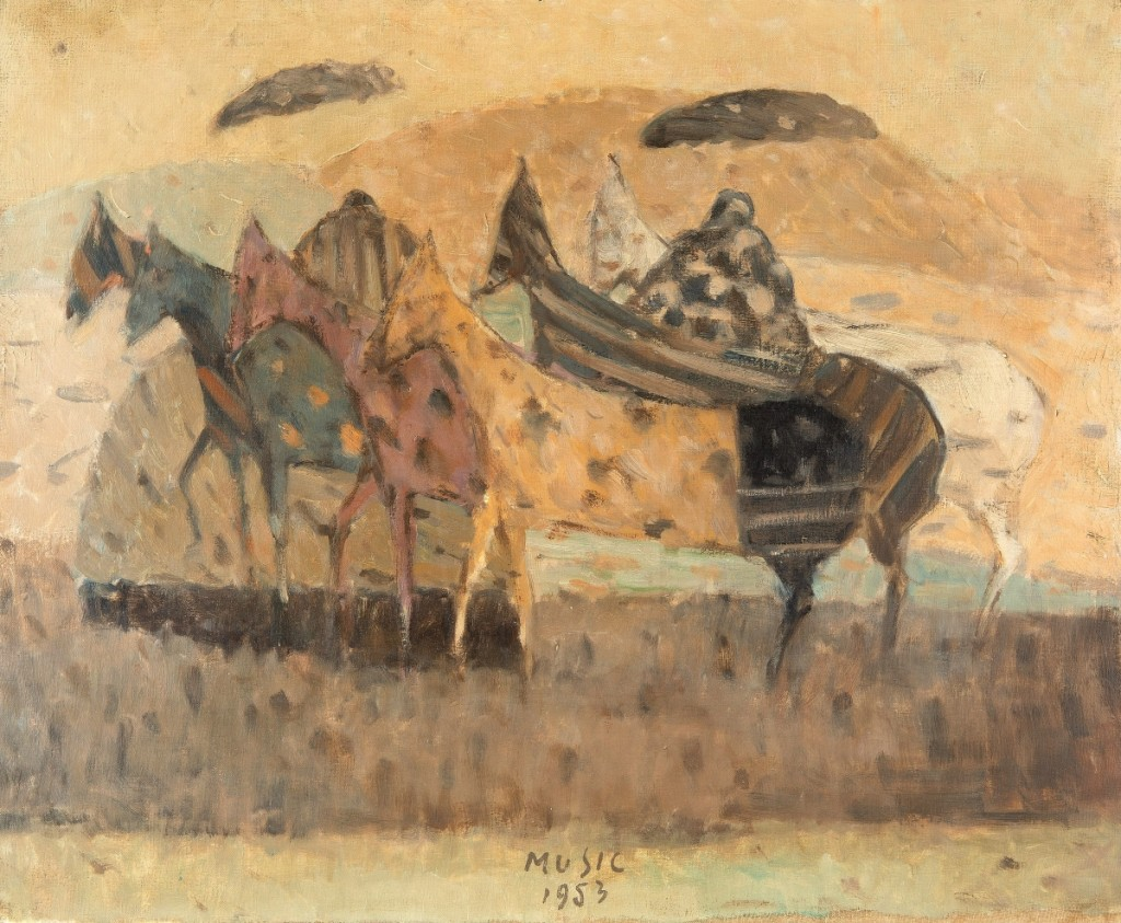 "Bid to a more than twofold premium over its high estimate was this painting of horses in a landscape by Slovenian artist Zoran Antonio Music (1909-2005), ""Cavallini,"" 1953, which hit $68,750."