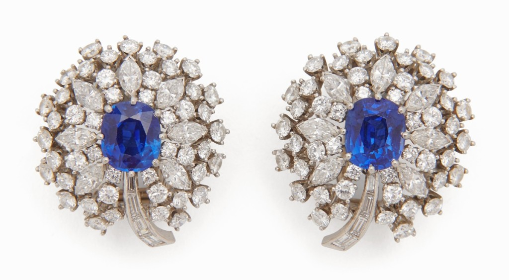 Bringing $90,625 and leading the jewelry portion of the sale was a pair of signed Raymond Yard platinum, Kashmir sapphire and diamond dress clips. The well-matched sapphires, each approximately 2.0 carats, were flanked by diamonds with a total weight of about 4.0 carats.
