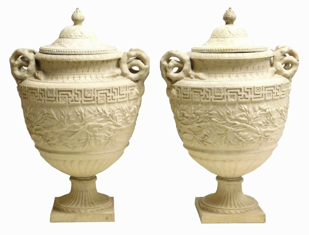 A pair of cast cement garden urns with covers weighed in at $5,700.