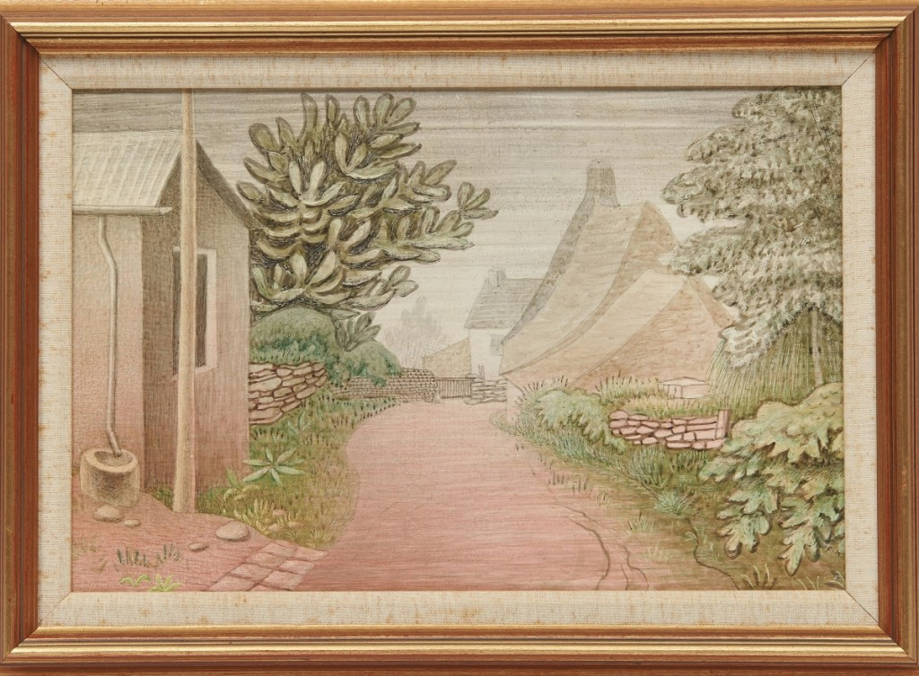 """The top selling lot of the day, """"Street in Locronan"""" by Czech painter Jan Zrzavý, signed and dated 1937, earned $162,500, well over the estimate. The street scene in Brittany was considered by prospective bidders to be an outstanding example of the artist's work."""