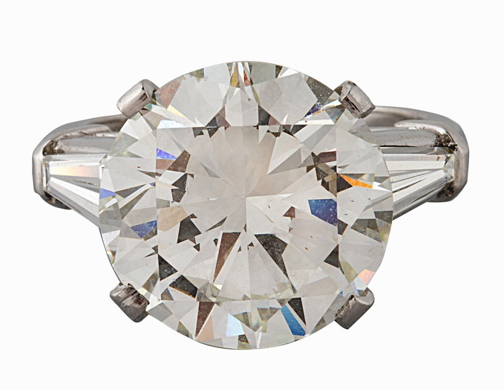 Jewelry offered in the sale was led by this 8-carat round cut diamond ring sparkler, which commanded $68,750.