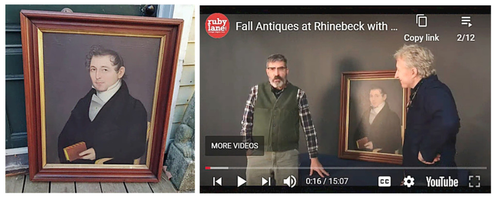 Rhinebeck Antiques Emporium provided the setting for the Antiques Roadshow-like videos with Leigh Keno. Here emporium owner Jay Grutman and Keno discuss the portrait by itinerant painter Ammi Phillips (1788-1865, active 1810 to 1860). Phillips traveled between Connecticut, Massachusetts and New York. This portrait is of a member of the Newkirk Family of West Hurley, N.Y. He is painted sitting in a fancy chair holding Milton's works. The painting was done somewhere between 1815 and 1820.
