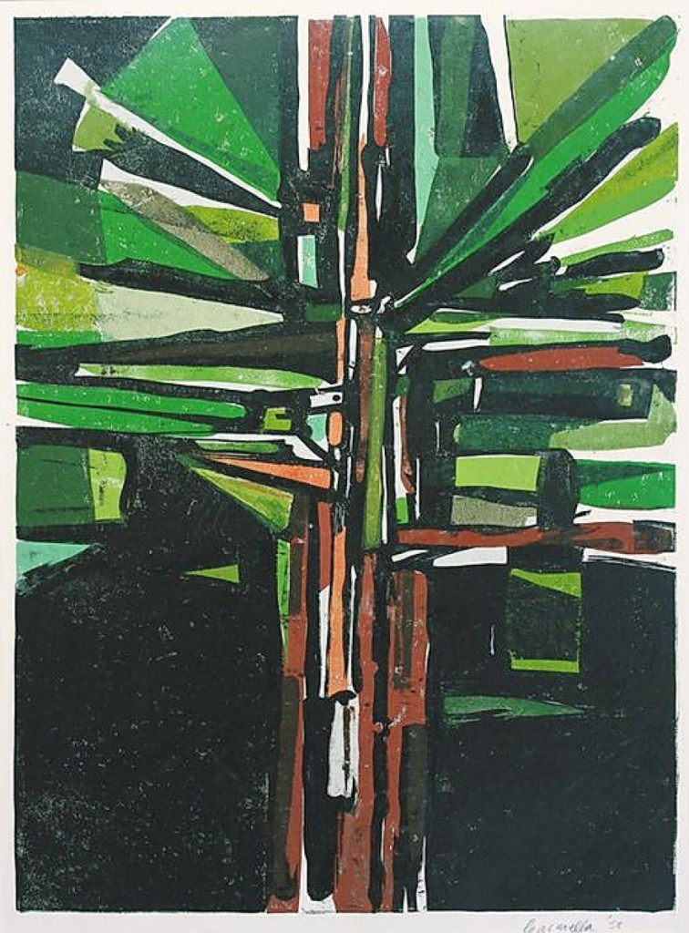 "On offer with Santa Rosa, Calif.'s The Annex Galleries is ""Tree Burst"" by American abstract expressionist printmaker Edmond Casarella (1920-1996). The work dates to 1958 and is an example of color paper relief printmaking, a technique he is often credited with inventing. It was priced at $2,400."