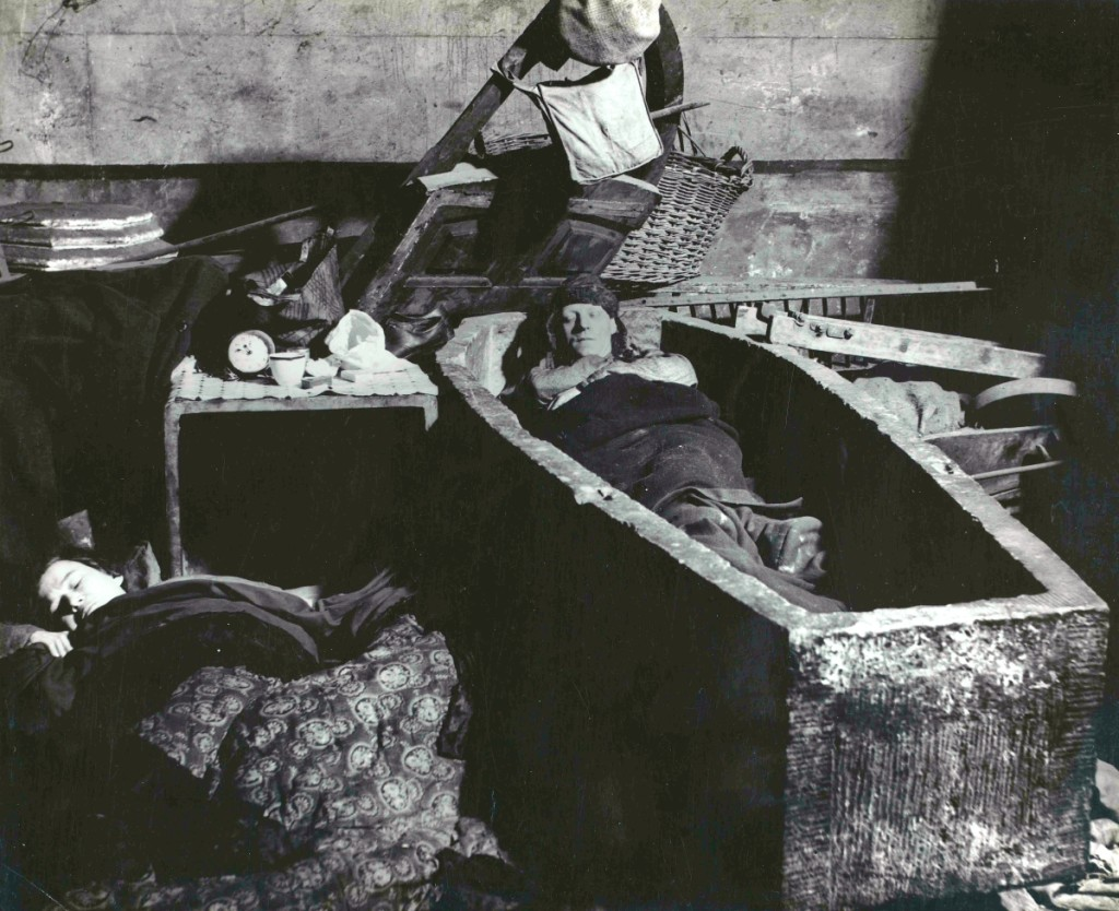 "Bill Brandt, ""East End Crypt Shelter. Man Sleeping in a Coffin,"" 1940, gelatin silver print,   Hyman Collection, London, ©Bill Brandt/Bill Brandt Archive Ltd."