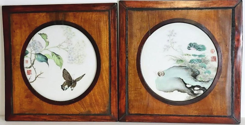 "The sale's top lot was this pair of Chinese enamel decorated circular plaques that sold to an overseas buyer for $42,500. Ron Clarke said the Armonk, N.Y., consignor did not know their value and they were a nice surprise. The auction house described their decoration as ""one with a depiction of a gilt-decorated butterfly amongst flora, and the second a portrayal of a snail atop a series of rocks with Lingzhi in the background."""