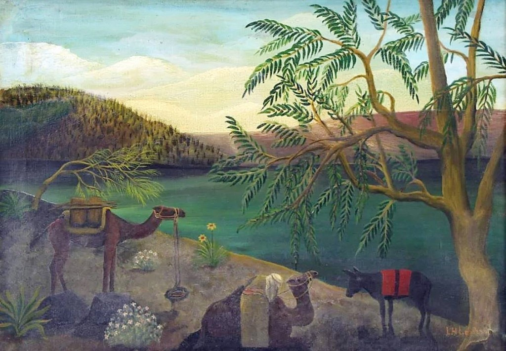 "An Orientalist scene by Lawrence Lebduska (American, 1894-1966) sold for $26,250. Featuring a singular figure with two camels and a donkey at the edge of an oasis, Clarke's fine art specialist William Schweller called it ""a unique package presented very well."" The oil on canvas, 20 by 27¾ inches, sold to an American bidder."