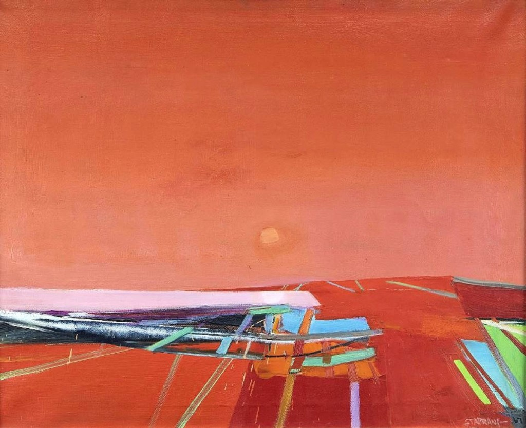 """Selling for $33,825 was Raimonds Staprans' (American/Latvian, b 1926) """"Pale Moon,"""" a 1967 oil on canvas measuring 28 by 34 inches. It had an exhibition label for John F Kennedy University."""
