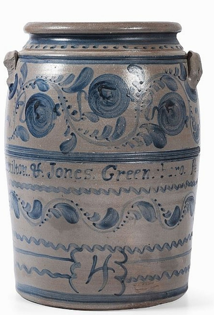 From Greensboro, Penn., pottery Hamilton & Jones was this 4-gallon stoneware crock that sold for $8,320. It stands out among Western Pennsylvania stoneware in that the decoration was largely freehand, as opposed to stenciled. Cowan's noted that they could find no other crocks by the firm with freehand decoration.