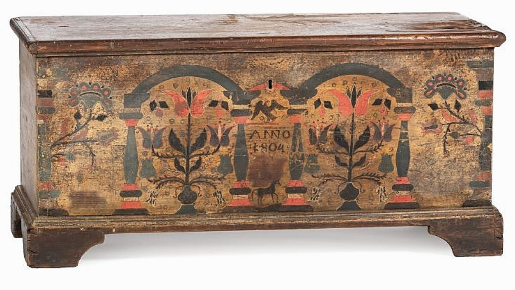 This Berks County pine paint-decorated blanket chest was Hindman's senior specialist of furniture and decorative arts, Benjamin Fisher's favorite work in the sale. The top was a bit chewed, but the paint decoration to the front made up for it. Bidders pursued the dated 1804 piece to $16,640.
