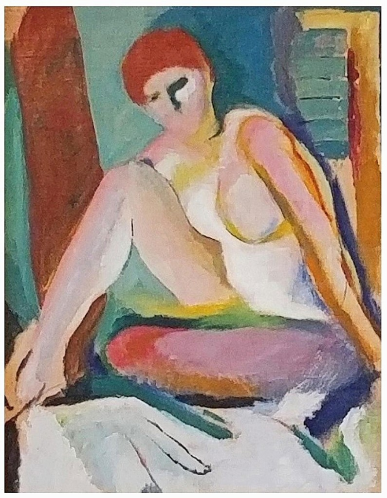 Phoenixville, Penn., dealers Dixon-Hall Fine Art had this modernist painting of a seated nude by Arthur Beecher Carles (American, 1882-1952). Measuring 29 by 20 inches, it was priced at $45,000.