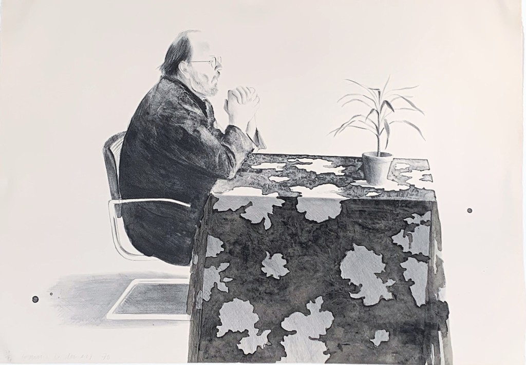 "On offer, and still available at press time with Brunswick, Maine's Edward T. Pollack Fine Arts, is ""Henry at Table,"" by David Hockney (English, b 1937), dated 1976, lithograph, numbered 39 from an edition of 96, on Arches paper, the sheet 29½ by 41½ inches. He was asking $24,500."