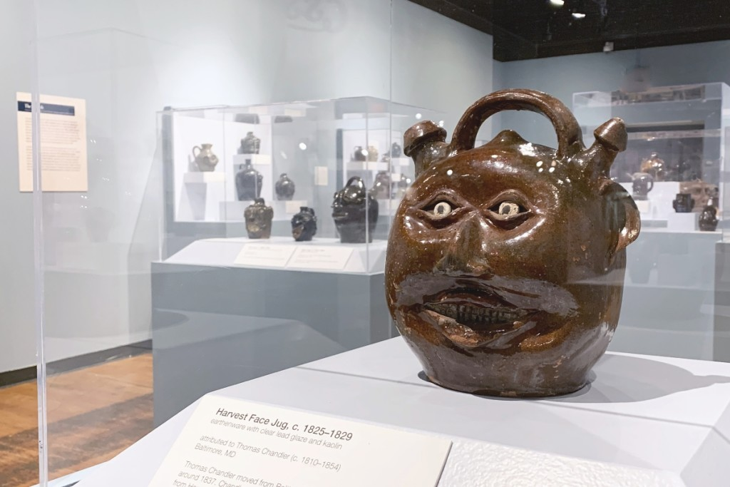 Seen here is the book's cover image, a face jug attributed to   Thomas Chandler made some time between 1810 and 1854.   Earthenware with clear lead glaze and white painted details, 10 inches high. Image courtesy of the South Carolina State Museum.