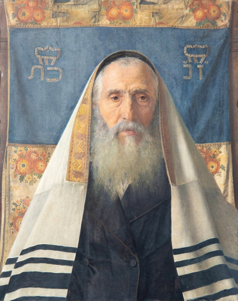"Isidor Kaufmann's (Austro-Hungarian, 1853-1921) portrait of a ""Hungarian Rabbi with Prayer Shawl,"" an oil on panel, 15¾ by 12-  inches, rose to the top of Shapiro's sale, finishing at $287,000."