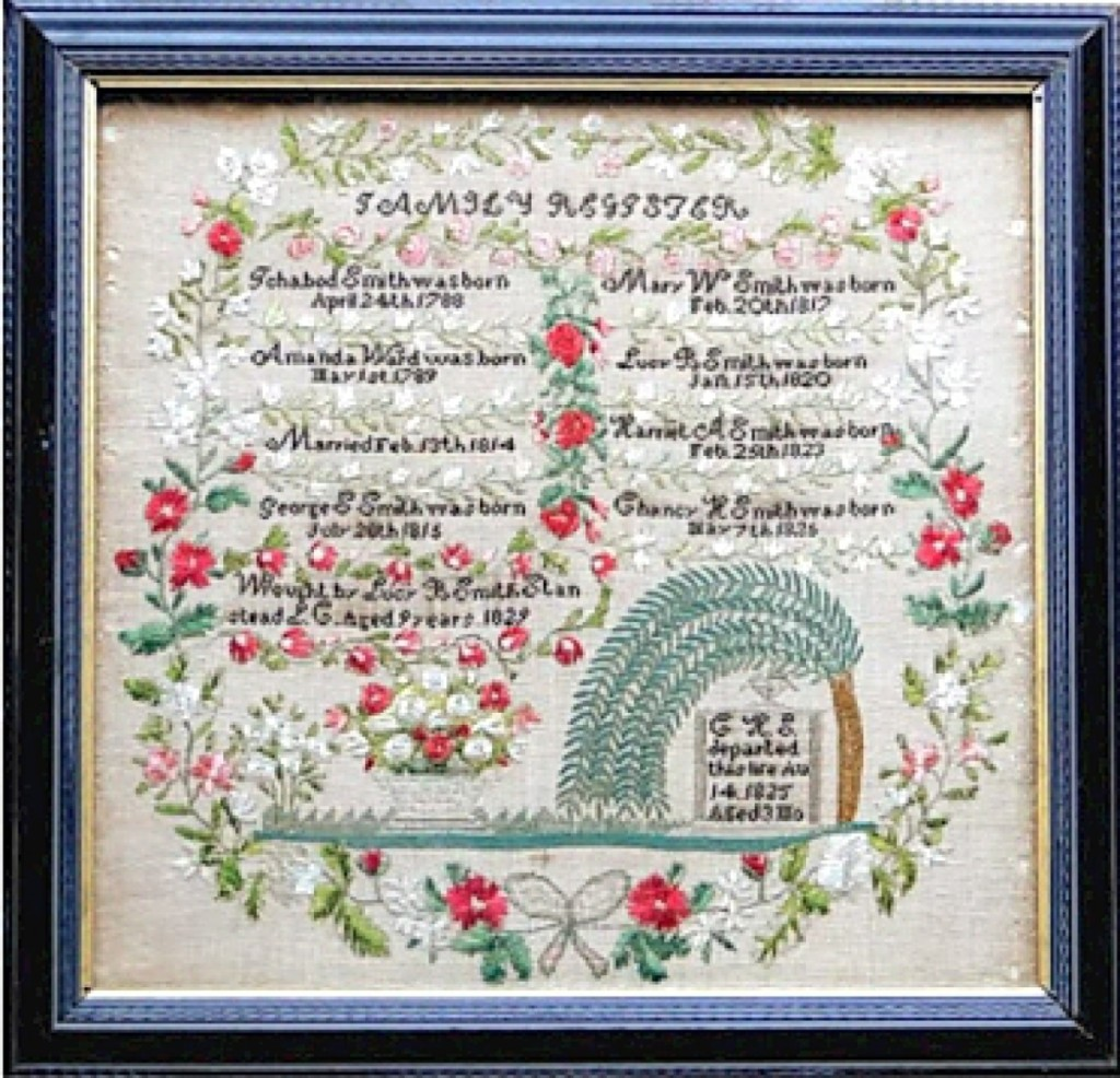 Neverbird Antiques offered an antique Canadian family record sampler with original and brilliant color. It was created in 1829 by 9-year-old Lucy B. Smith (1820-1836) in her hometown of Stanstead, Estrie Region of Quebec (then Lower Canada). Lucy died at age 16, but her sampler survived in full color remembrance.