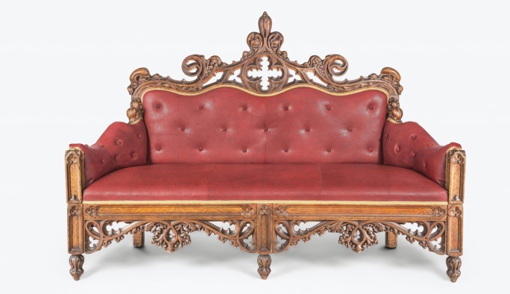 Sofa, Philadelphia, 1835-40. Tulip poplar, pine, wool and silk fibers, linen and curled-hair under-upholstery, replacement upholstery; 43 by 76½ by 28 inches. Purchased with the McNeil Acquisition Fund for American Art and Material Culture, 2006-132-1. Recently conserved by PMA staff, this flamboyant sofa is from a set of furniture most likely commissioned by the Jacoby family, proprietors of a marble and stone works in Philadelphia from 1797 through the 1920s.