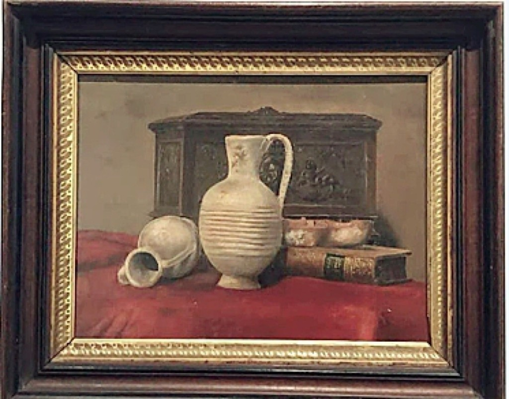 Among fine art offered by David Smernoff was this trompe L'oeil table top still life, oil on wooden board, 11 by 15 inches. Smernoff said he was not sure if this is an American or European painting.