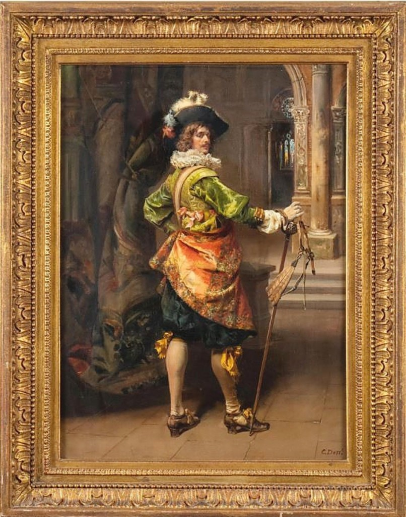"""The sale was led by this portrait of a """"Cavalier"""" by Cesare Auguste Detti (Italian, 1847-1914), which sold for $21,250. While Detti is largely known as a genre painter, he created a number of scenes featuring a cavalier in formal dress. He was represented by the well-known Parisian dealer Adolphe Goupil."""