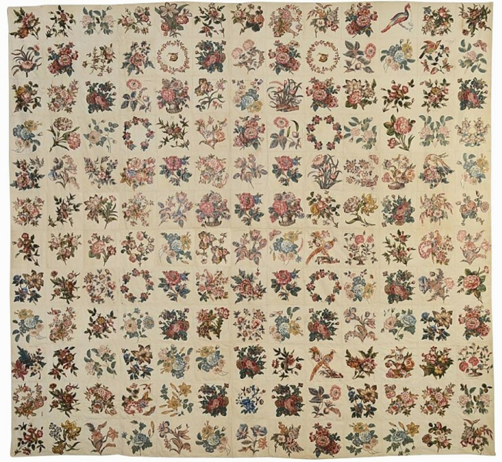 This broderie perse album quilt with Stella Rubin was from Trenton, N.J., and dated 1843. Featuring 156 blocks — an unusually large number — the quilt had descended in the Valette, McNeely, Aiken and Coleman families but, perhaps more importantly, had been in the collection of early quilt scholar Florence Peto. It was priced at $19,000 and still available at press time. Darnestown, Md.