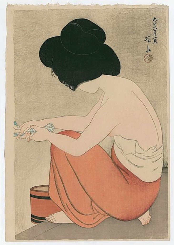 """After the Bath"" by Shinsui Shinsui was from 1917 and on offer by The Art of Japan, Medina, Wash., priced on request."