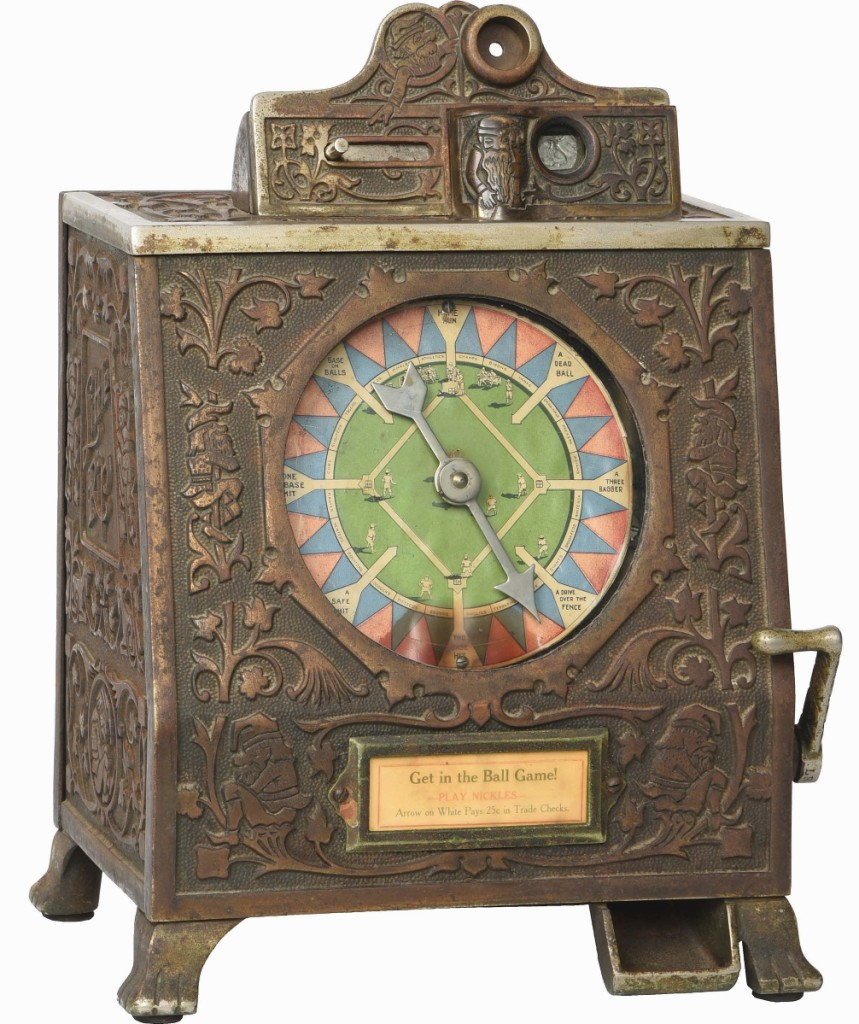 """Mills 5-cent """"Little Rip"""" baseball-theme payout trade stimulator in decorative cast iron case realized $132,000 against an estimate of $40/70,000."""