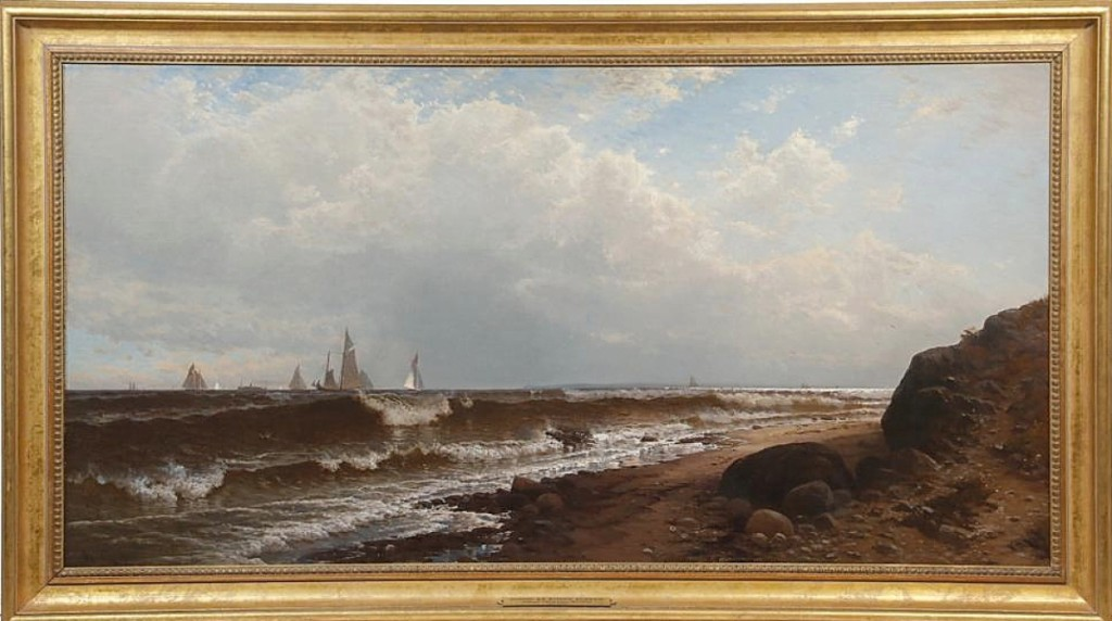 """""""It was a beautiful painting; I'd have thought it would have brought a lot more money,"""" Veilleux said of """"Noon at Point Judith"""" by Alfred Thompson Bricher (New York / New Hampshire, 1837-1908), which fell short of its estimate but still brought the top price in the sale, selling to a phone bidder for $46,800 ($75/125,000)."""