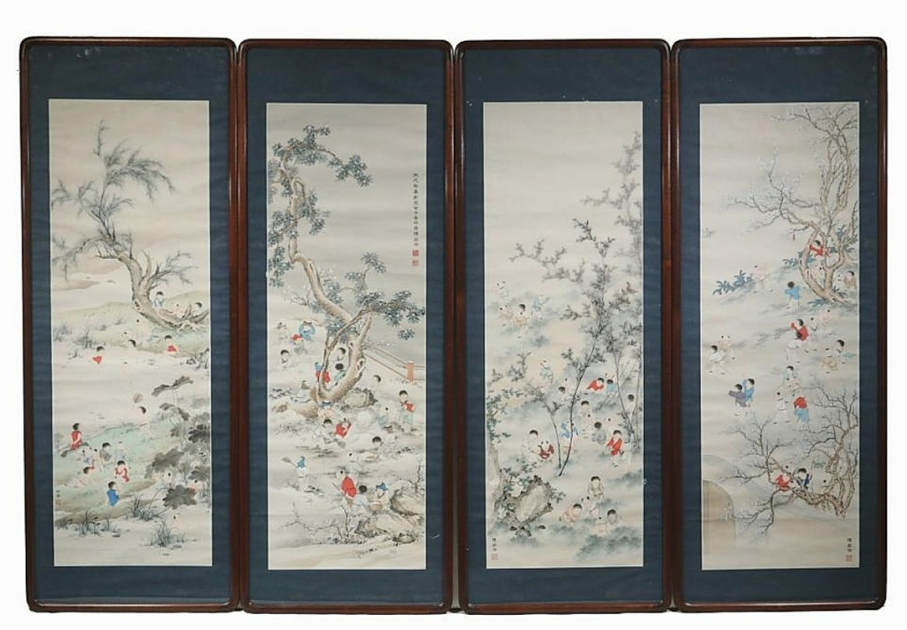 This set of four painted Chinese scrolls depicted children playing in gardens and were in Plexiglas frames measuring 48¾ by 18 inches each. Veilleux said they had received so much interest from Asia that he was certain they were going to an online bidder there, for $27,600 ($1/1,500).