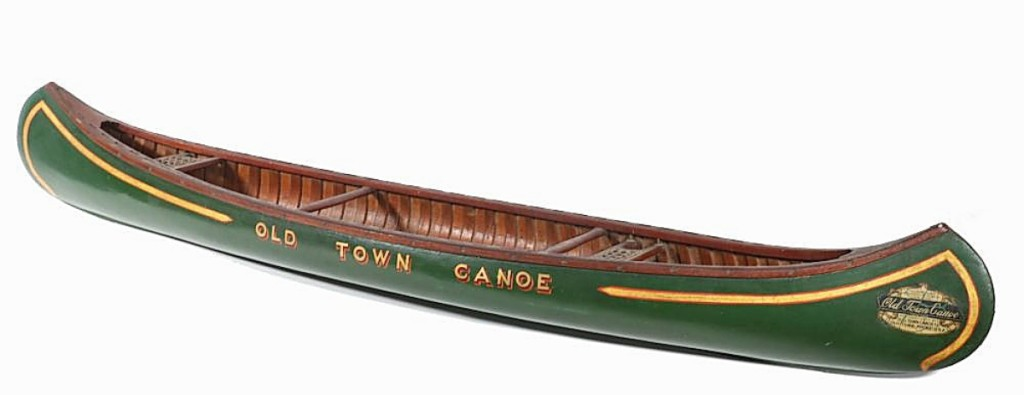 """""""These almost never come up and this was in the nicest condition I've ever seen,"""" Veilleux said, referencing this 48-inch green salesman's sample display canoe, circa 1920. He had found it in Portland, Maine, and it sold for $15,600 to an online buyer ($10/20,000)."""