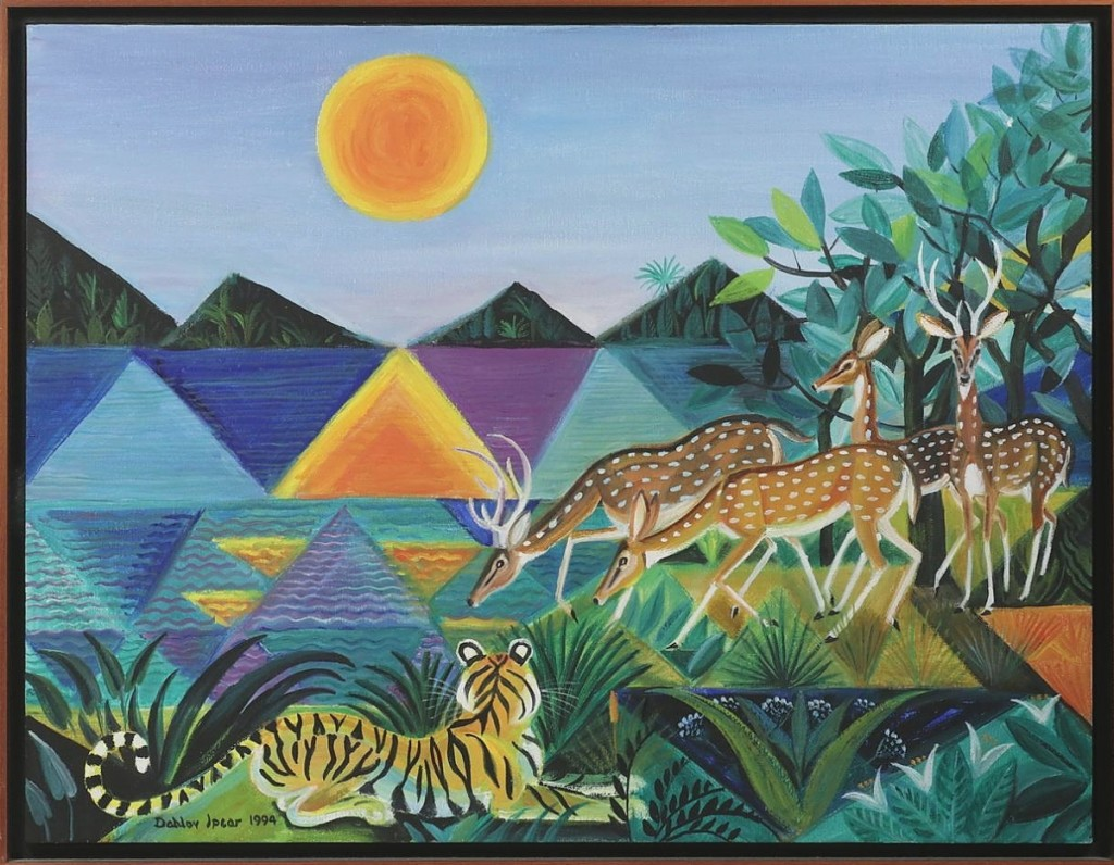 """""""Kanha Sunset"""" by Dahlov Ipcar (Maine / Vermont, 1917-2017) brought $16,380 from a phone bidder ($10/15,000)."""
