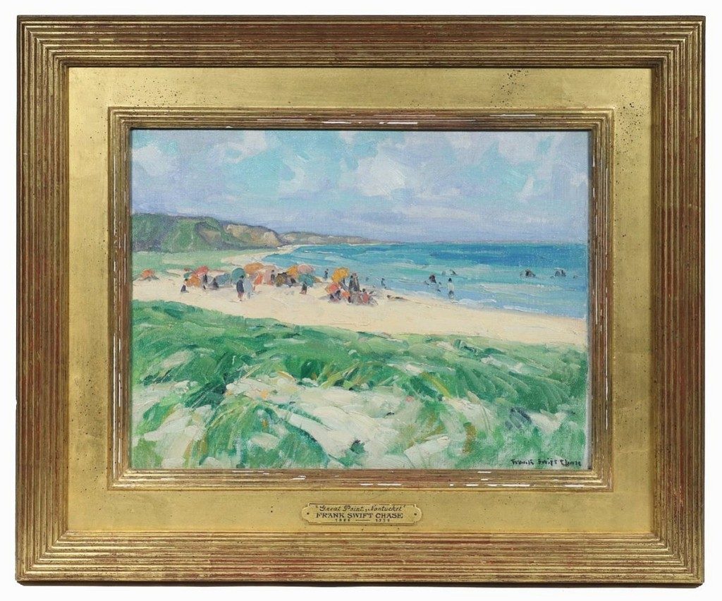 """Veilleux acquired """"Beach at Cliffside, Nantucket"""" by Frank Swift Chase (Massachusetts, 1886-1958) from a family who had relocated to Maine from Nantucket. A phone bidder liked it enough to take it to $17,550 ($20/25,000)."""