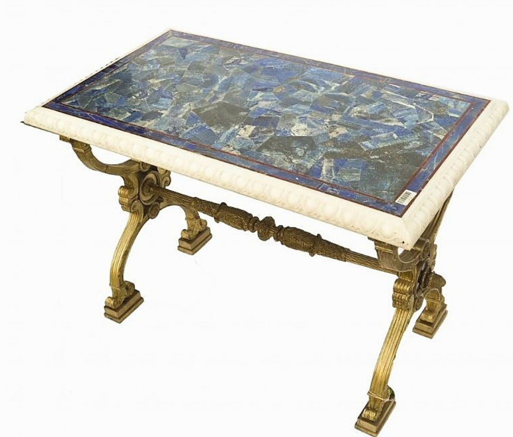 In Russian Neoclassical style, this gilt-bronze and stone center table went out at $11,250.