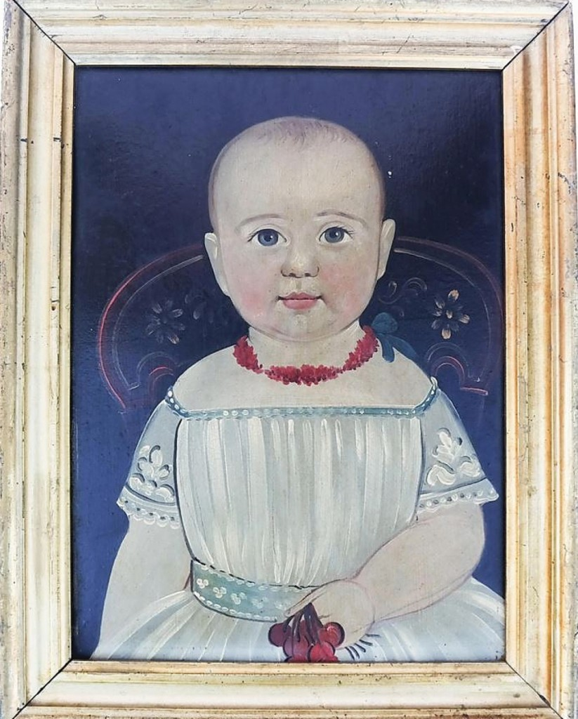 There was no signature on this oil on board folk art portrait of a child, but it was attributed to Sturtevant J. Hamblin (American, 1835-1855) or William Matthew Prior (American, 1806-1873). Housed in a gilt-edged frame, the 13½-by-10-inch painting was the sale's second highest selling lot, bringing $12,500.