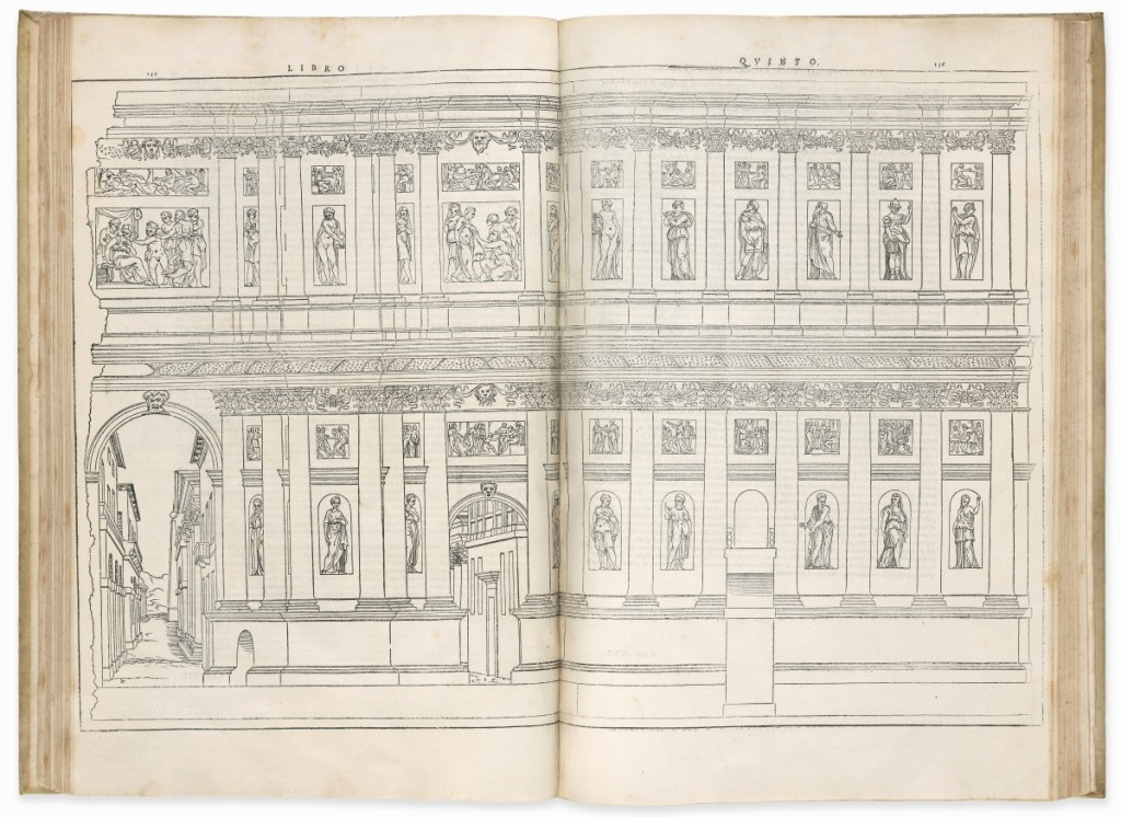 Vitruvius Pollio (active First Century BCE) I dieci libri dell'architettura (On the Art of Building in Ten Books), translated with a commentary by Daniele Barbaro, Venice: Francesco Marcolini, 1556. The Morgan Library & Museum, gift of Paul Mellon, 1979.   —Janny Chiu photo