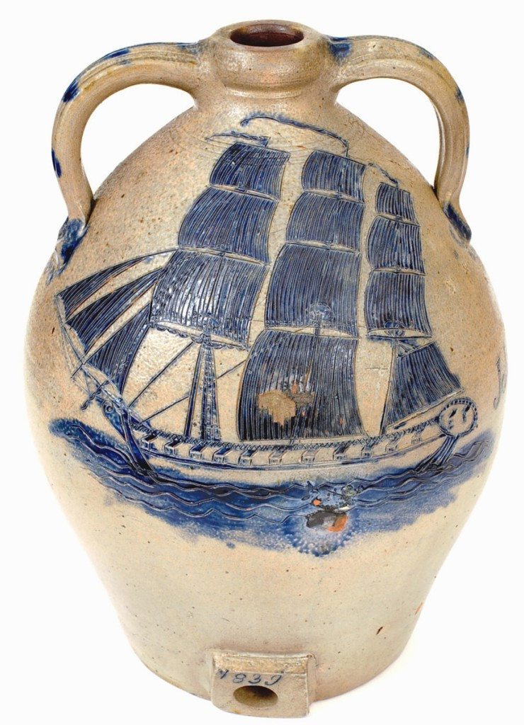 "The sale's top lot at $252,000 was this stoneware cooler attributed to South Amboy, N.J., potter Abial Price. It is only the sixth piece of stoneware to crack the $200,000 mark at auction and a record for New Jersey stoneware. The piece is dated 1839 and features the name of ""John B. Wilson,"" to whom it was likely presented. The firm said it was the finest sailing vessel design they had ever seen on a piece of pottery, notable for the incising on the ship, sails and water."