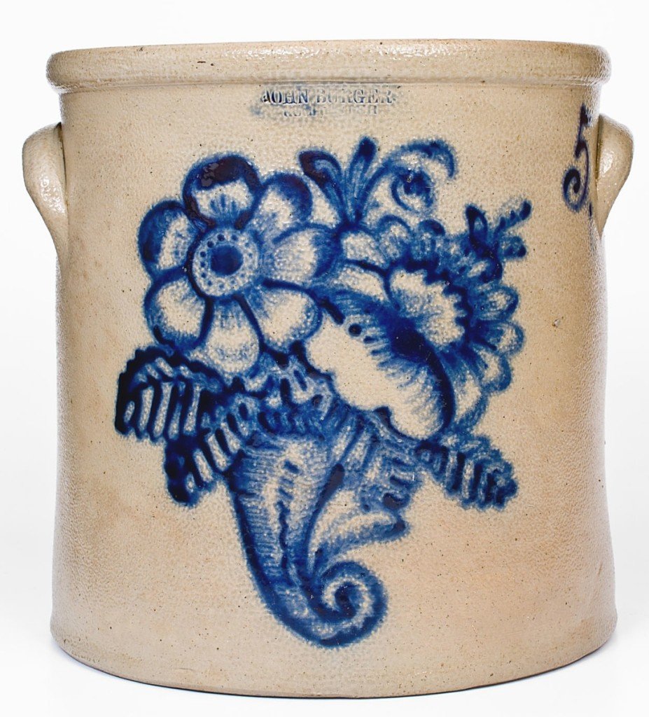Taking $26,400 was this 5-gallon stoneware crock from Rochester, N.Y., potter John Burger. Two dedicated collectors pushed it well beyond the $6,000 high estimate, due in part to the fact that the design is a rare one for the potter.