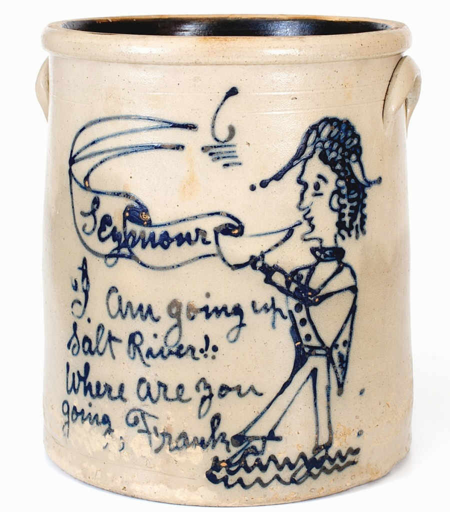 "Rising to $20,400 was this 6-gallon stoneware crock from Ohio. It features New York Governor Horatio Seymour wading into Salt River with the inscription ""I am going up Salt River! Where are you going, Frank."" Both Seymour and his running mate Francis ""Frank"" Blair ran as Democrats on a distinctly racist platform in the 1868 election, the first since both the abolition of slavery and also the first where Black people could vote. The phrase ""Going Up Salt River"" was a euphemism for political loss, a path to nowhere and oblivion. Ulysses S. Grant swept Seymour in a 214-80 electoral decision."