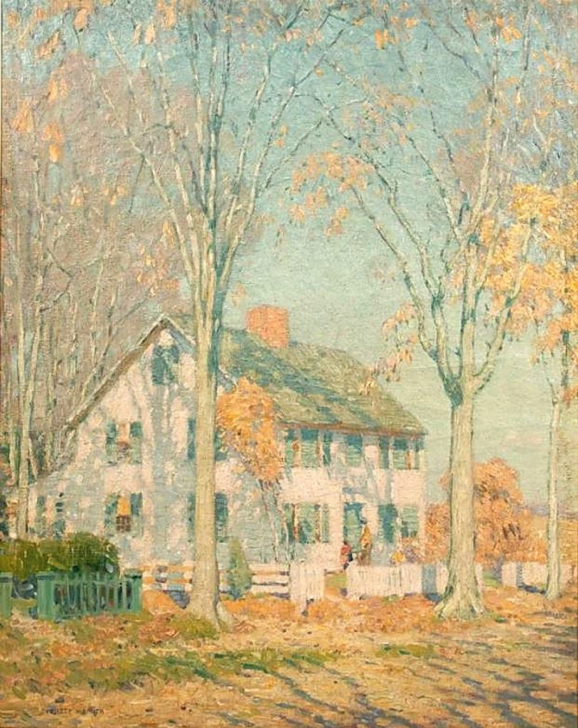 While he was associated with the Lyme Art Colony, Everett Longley Warner would paint one of Old Lyme, Conn.'s, oldest homes, the Noyes-Beckwith House. The art colony, centralized at the Florence Griswold House, was erected on the site that the home was originally built on and moved from in 1816. The auction house noted that the home was owned in the 1870s by Morrison Remick Waite, Chief Justice of the US Supreme Court, and that one of his frequent summer visitors was President Rutherford Hayes. The 39-by-31-inch oil on canvas sold for $27,450.