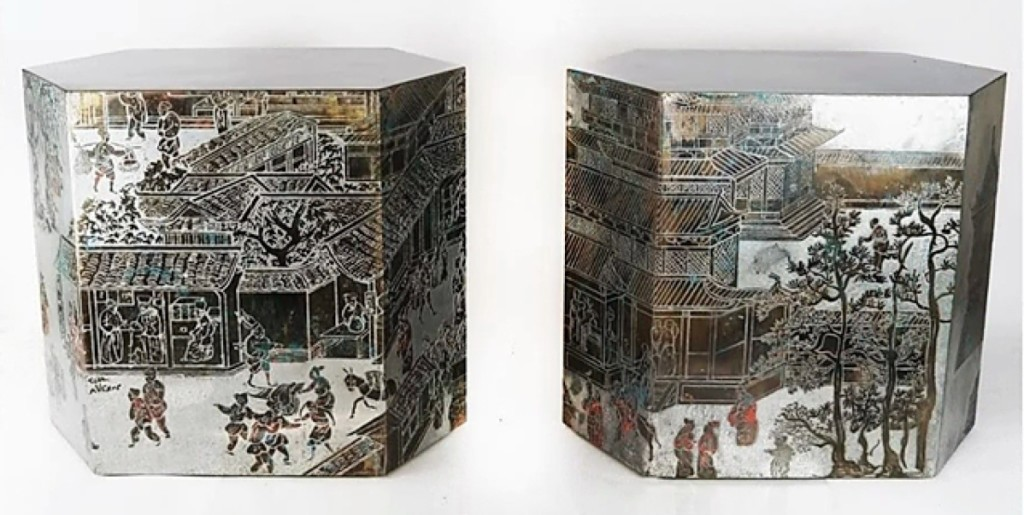 Headlining the sale was this pair of Philip and Kelvin Laverne six-sided Chan-style bronze side tables that sold for $17,500.
