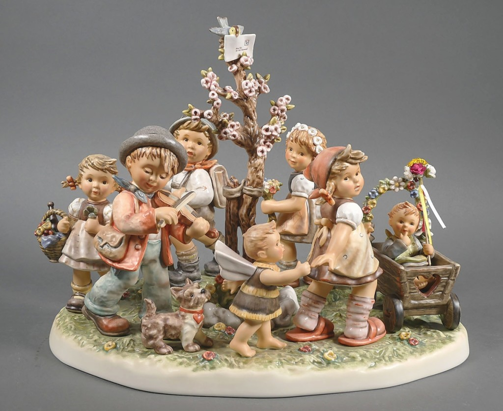 """""""Sister's Children,"""" a limited edition figurine depicting youngsters at play, was created to celebrate Sister Hummel's 100th Anniversary. It brought $4,500."""